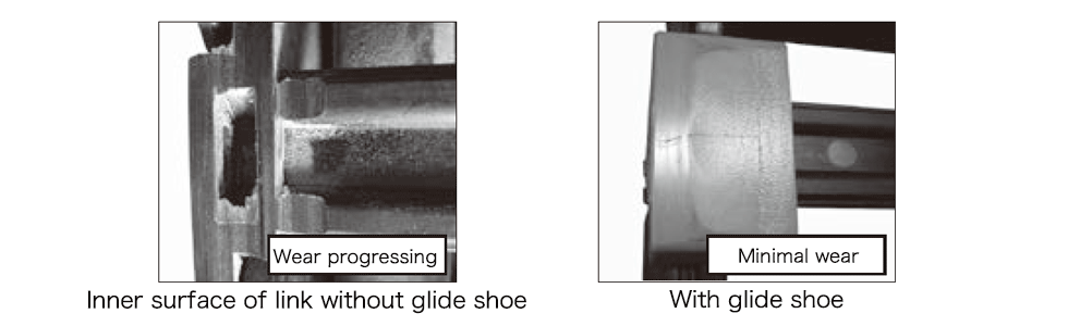Wear comparison - Long Span Type with Glide Shoes