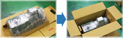 Eco packaging using only corrugated cardboard and stretch film.