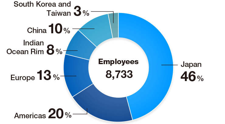 Composition of Employees by Region